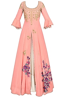 Surreal Rose Floral Embroidered Anarkali Kurta And Lehenga Skirt Set by Monika Nidhii