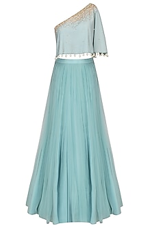 Frost Blue Sequinned Cape Top With Tulle Skirt