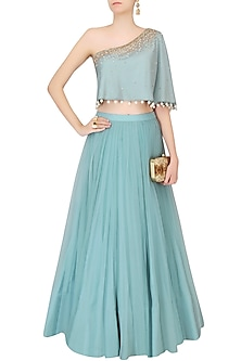 Frost Blue Sequinned Cape Top With Tulle Skirt by Monika Nidhii
