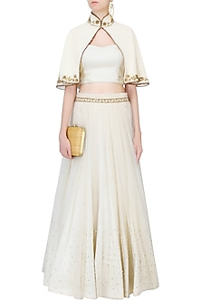 Vanilla Color Embroidered Cape Jacket With Top And Tulle Skirt by Monika Nidhii
