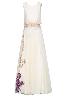 Vanila Color Embroidered And Sequin Ombre Gown