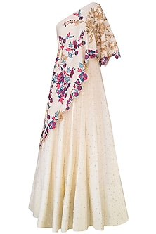 Vanilla Color One Shoulder Gown With Embroidered Aymmetric Cape