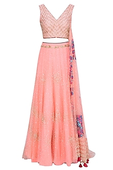 Rose Pink Sequinned Lehenga Set by Monika Nidhii