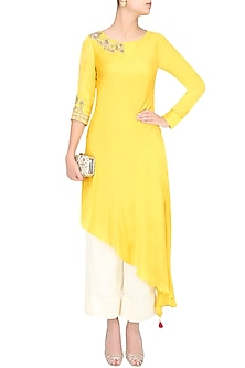 Mustard Yellow Embroidered Asymmetric Kurta With Pants by Monika Nidhii