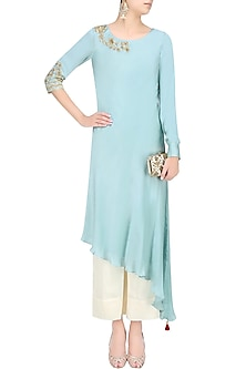 Frost Blue Embroidered Asymmetric Kurta With Pants by Monika Nidhii