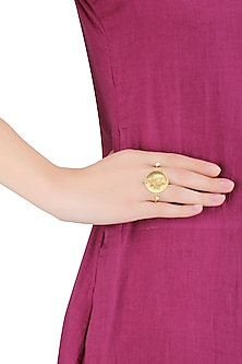 Gold Plated Coin and Plant Motif Ring by Mirakin
