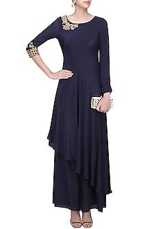 Midnigh Blue Floral Embroidered Asymmetric Kurta with Sharara Pants by Monika Nidhii