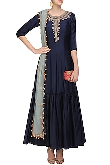 Midnight Blue Floral Embroidered Anarkali Kurta and Pants Set by Monika Nidhii