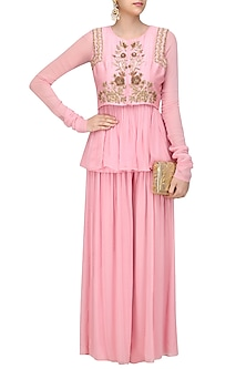 Pink Floral Embroidered Jacket, Peplum Shirt and Sharara Pants Set by Monika Nidhii