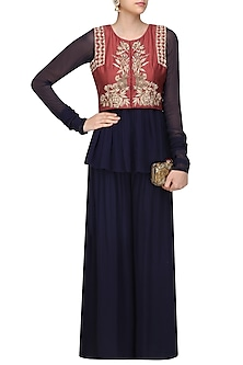 Red Floral Embroidered Jacket with Midnight Blue Peplum Shirt and Sharara Pants by Monika Nidhii
