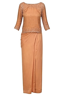 Caramel Pearl and Zircons Embroidered Top and Dhoti Skirt Set by Monika Nidhii