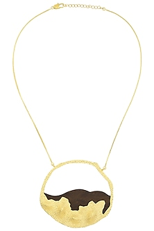 Gold Plated Wave Like Design Necklace by Mirakin