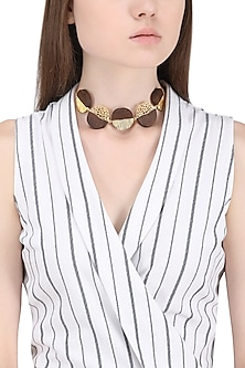Gold Plated Necklace with Five Different Coin Shape Designs