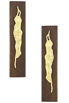 Gold Plated Gold Leaf Statement Earrings by Mirakin