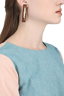 Gold Plated Gold Leaf Statement Earrings