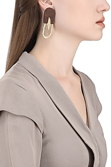 Gold Plated Long Abstract Work Earrings by Mirakin