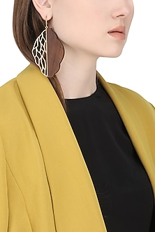 Gold Plated Identitical and Symmetrical Work Of Gold and Wood Earrings