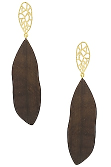 Gold Plated Gold Web Design Earrings by Mirakin