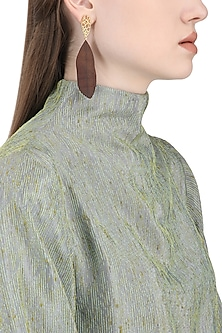 Gold Plated Gold Web Design Earrings by Mirakin