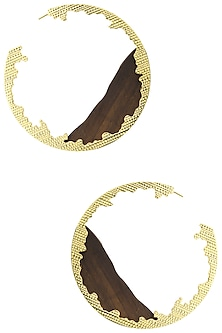 Gold Plated Wave Pattern Earrings by Mirakin