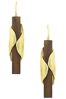 Gold Plated Cocoon Shaped Design On Wood Earrings by Mirakin