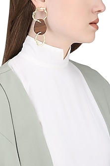 Gold Plated Gold Hoops and Wood Earrings