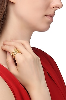 Gold Plated Santorini Landscape Ring by Mirakin