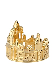 Gold Plated Kolkata Cityscape Ring by Mirakin