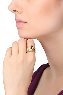 Gold Plated Delhi Cityscape Ring by Mirakin
