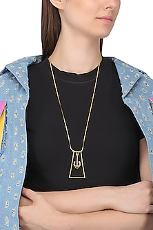 Gold Plated Anchor Motif Necklace by Mirakin