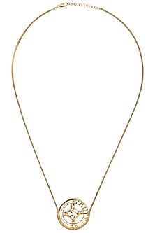 Gold Plated Globe Motif and Trotter Necklace by Mirakin