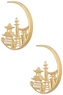 Gold Plated Japan Landscape Earrings by Mirakin