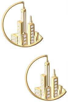 Gold Plated New York Cityscape Loop Earrings by Mirakin