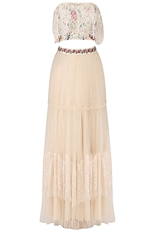 Ivory Off-Shoulder Embroidered Crop Top with Lehenga Set