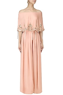 Salmon Pink Off-Shoulder Embroidered Cape with Pants Set by Monika Nidhii