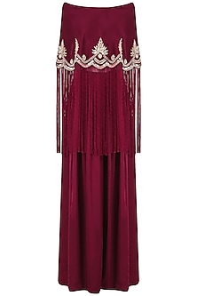 Wine Off-Shoulder Embroidered Cape with Pants Set by Monika Nidhii