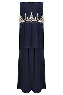 Midnight Blue Off-Shoulder Embroidered Cape with Pants Set