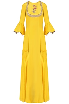 Yellow Embroidered Anarkali Set