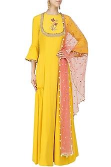 Yellow Embroidered Anarkali Set by Monika Nidhii