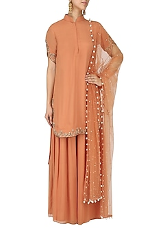 Caramel Embroidered Kurta with Palazzo Pants Set by Monika Nidhii
