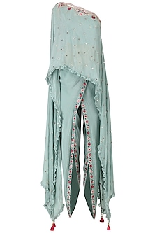 Frost Blue One Shoulder Embroidered Cape with Dhoti Pants Set