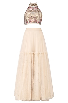 Ivory Embroidered Crop Top with Lehenga Set