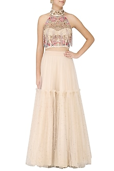 Ivory Embroidered Crop Top with Lehenga Set by Monika Nidhii
