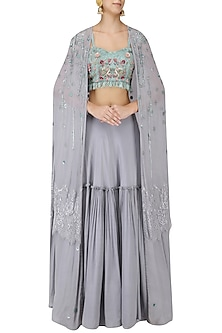 Cloud Blue Floral Embroidered Lehenga Set with Cape by Monika Nidhii