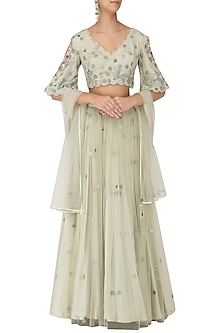 Sage Green Floral Embroidered Lehenga Set by Monika Nidhii