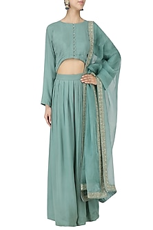Frost Blue Cape and Palazzo Pants Set by Monika Nidhii