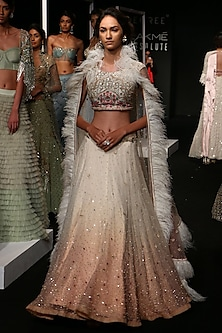 Ivory To Pink Ombre Mirror Embroidered Lehenga Set by Monika Nidhii