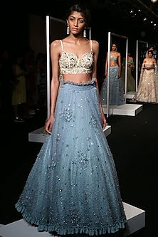 Frost Blue Sequins Embroidered Frill Lehenga Set