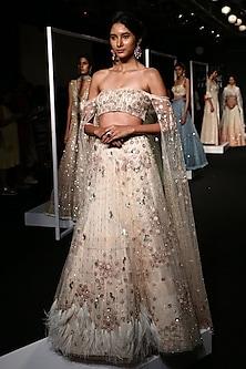 Ivory Shimmer Sequins and Resham Embroidered Lehenga Set by Monika Nidhii