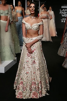 Ivory To Beige Ombre Floral Embroidered Lehenga Set by Monika Nidhii